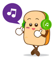 Bread 13 Isolated happy smile listening music vector image