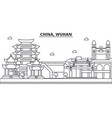 china wuhan architecture line skyline vector image vector image