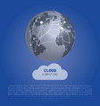 cloud computing design concept with world map vector image vector image
