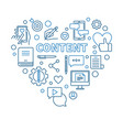 content concept thin line blue heart vector image vector image