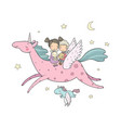 cute cartoon boy and girl and unicorn vector image vector image