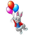 cute rabbit flying with balloons on a white backgr vector image vector image