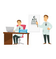 doctor physician and ophthalmologist work desktop vector image