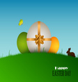 Easter card with eggs in the grass vector image vector image