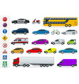 flat high-quality city transport cars and road vector image vector image