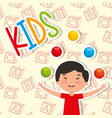 funny boy kid playing colored balls vector image vector image