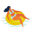 girl on inflatable swimming pool float vector image vector image