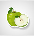 green apple sticker cartoon vector image