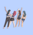 group four friends posing from back side vector image