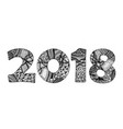 handdrawn black and white 2018 vector image