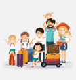 happy numerous family with luggage on white vector image vector image