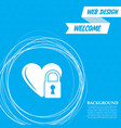 heart lock icon on a blue background with vector image vector image