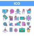ico bitcoin thin line icons set vector image vector image