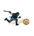 italian pizza riot police with a baton vector image