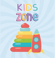 kids zone plastic pyramid and rocket icons vector image