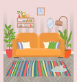 living room interior home styling sofa and plants vector image vector image