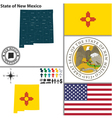 map new mexico with seal vector image vector image