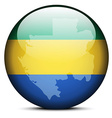 Map on flag button of Gabon Gabonese Republic vector image vector image