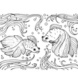 Marine life Monochrom hand drawn background vector image vector image