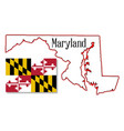 maryland state map and flag vector image vector image