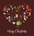 merry christmas symbols of new year signs set vector image vector image