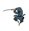 ninja with a katana sword vector image