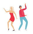 people dancing at party clubbing man and woman vector image vector image