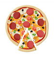 pizza with pepperoni traditional fast food vector image vector image