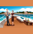 retired couple on a yacht vector image vector image