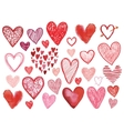 set hand drawn doodle hearts isolated vector image vector image