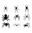 set of black silhouette spider icon isolated on vector image