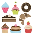 Set of delicious cakes and cupcakes vector image