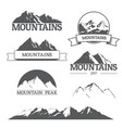 set of mountain logos on white vector image vector image