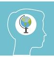 silhouette head boy globe education online vector image vector image