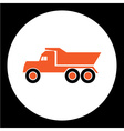 simple orange dump truck car isolated icon eps10 vector image