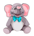 soft plush grey elephant toy isolated on white vector image vector image