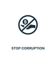 stop corruption icon premium style design from vector image