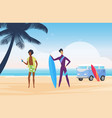 surfer people surf on tropical summer beach vector image vector image