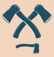 vintage crossed camping hatchets design vector image