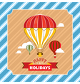 Vintage greeting card with hot air balloons vector image