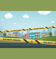 yellow striped warning tapes on an empty street vector image