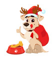 funny dog wearing santa claus hat and deer vector image