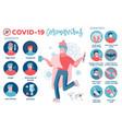 2019-ncov covid19 prevention symptoms and vector image
