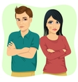 angry couple looking at each other vector image vector image