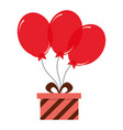 birthday gift box with red balloons decoration vector image