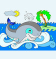 blue whale on a background of ocean color for vector image vector image