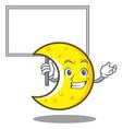 bring board crescent moon character cartoon vector image