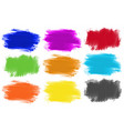 Brushstrokes in nine colors vector image