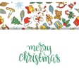 Christmas background with different icons vector image