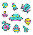 collection of cosmic objects spaceships vector image